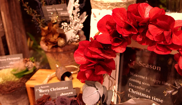 クリスマスに向けて、プリザーブドフラワーのリースを飾りませんか